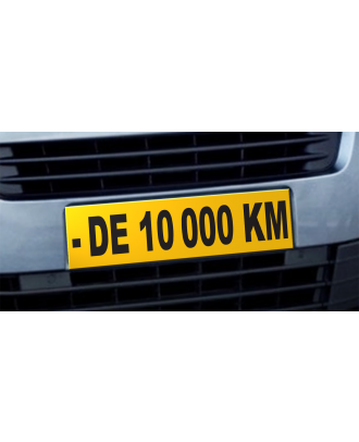 Cache plaque d'immatriculation avantage - de 10000 KM jaune et noir