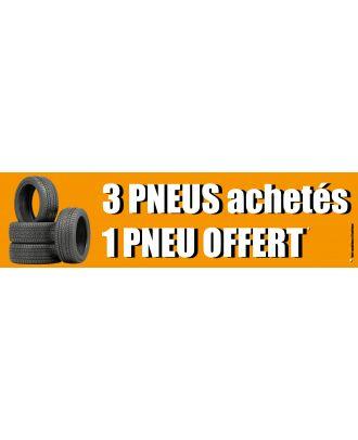 Visuel de la banderole 3 pneus achetés 1 offert 3 x 0.8 m
