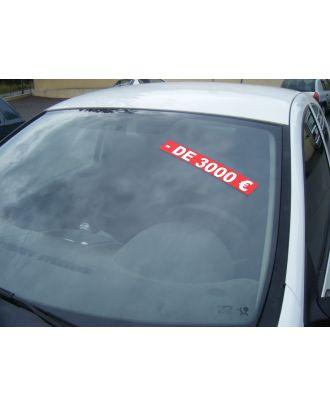 Autocollant Pare Brise Avantage rouge - de 3000 €