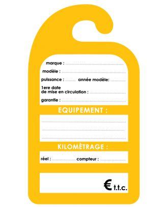 Affiche de prix rétroviseur en carton coloris jaune les 250 ex