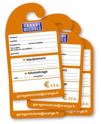 Affiche de prix rétroviseur en carton personnalisée les 100 ex