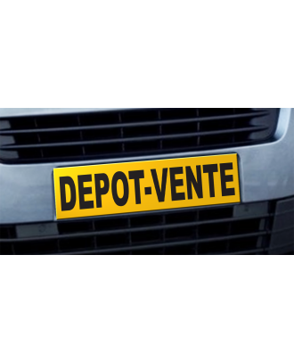 Cache plaque d'immatriculation avantage Dépôt Vente jaune et noir