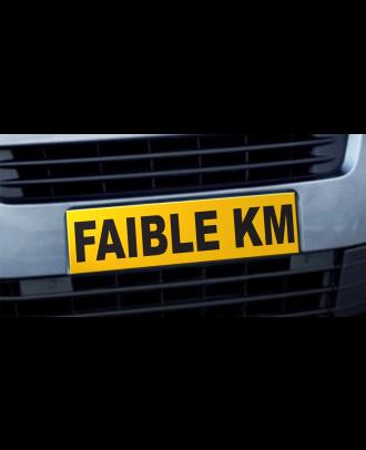 Cache plaque d'immatriculation avantage Faible Kilométrage jaune et noir