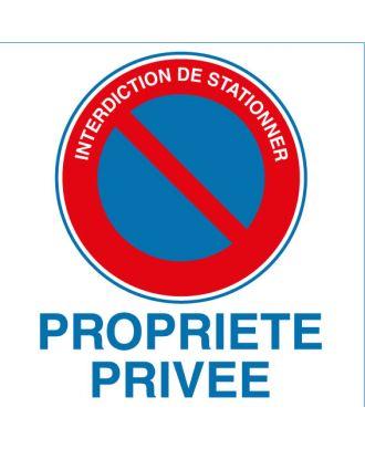 Panneau alu interdiction de stationner propriété privée