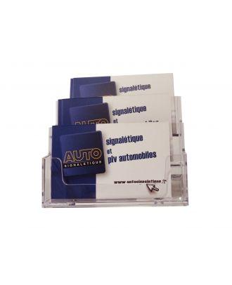 Présentoir de carte de visite 3 bacs ASK503 avec cartes Autosignalétique