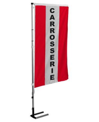 Kit mat et drapeau carrosserie rouge à bandes latérales 4 m