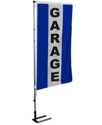 Kit mat et drapeau garage bleu à bandes latérales 6 m