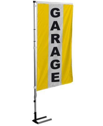 Kit mât et drapeau Garage jaune à bandes latérales 6 m
