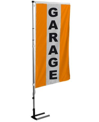 Kit drapeau et mat garage orange à bandes latérales 5.5 m