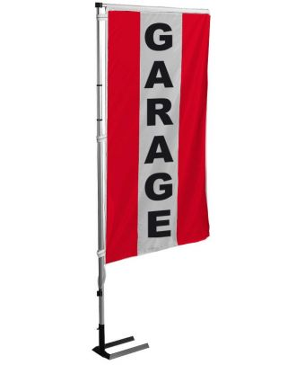 Kit drapeau et mat garage rouge à bandes latérales 4 m