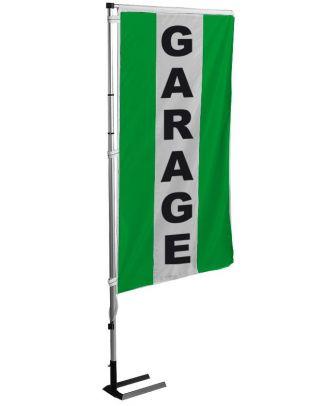 Kit drapeau et mat garage vert à bandes latérales 5.5 m