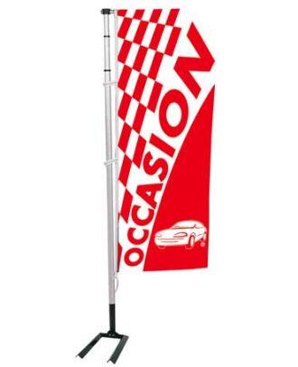 Kit mat et drapeau Occasion à damiers 6 m coloris rouge