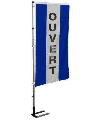 Kit mât et drapeau Ouvert bleu à bandes latérales 5.5 m