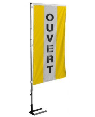 Kit mat et drapeau OUVERT jaune à bandes latérales 6 m