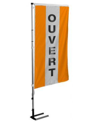 Kit mat et drapeau ouvert orange à bandes latérales 4 m