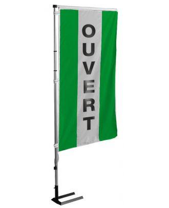 Kit mat et drapeau OUVERT jaune à bandes latérales 5.5 m