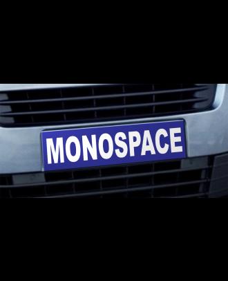 Cache plaque d'immatriculation avantage Monospace bleu