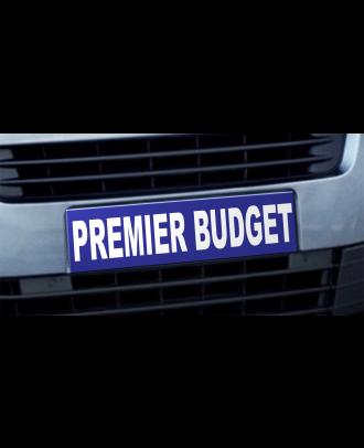 Cache plaque d'immatriculation avantage Premier Budget bleu