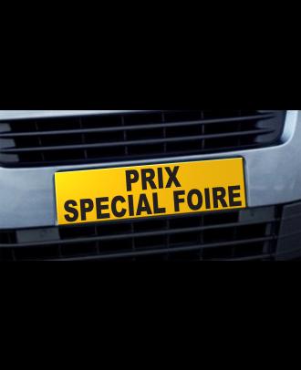 Cache plaque d'immatriculation avantage Prix Spécial Foire jaune et noir