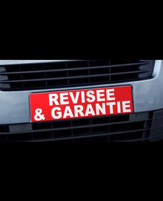 Cache plaque d'immatriculation avantage Révisée et Garantie rouge
