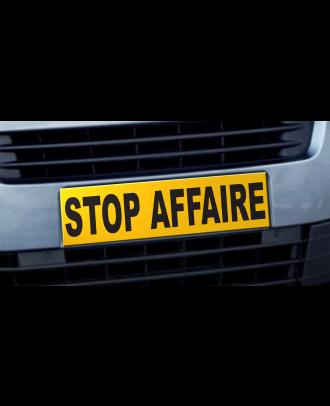 Cache plaque d'immatriculation avantage Stop Affaire jaune et noir