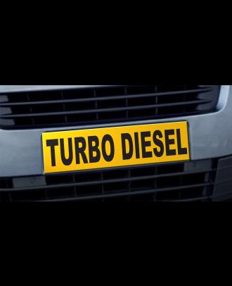 Cache plaque d'immatriculation avantage Turbo Diesel jaune et noir