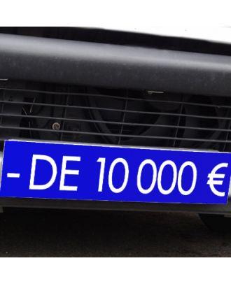 Cache plaque d'immatriculation avantage bleu - de 10000 €