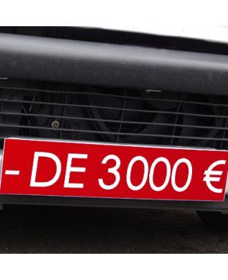 Cache plaque d'immatriculation avantage rouge - de 3000 €