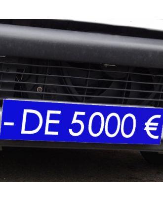 Cache plaque d'immatriculation avantage bleu - de 5000 €