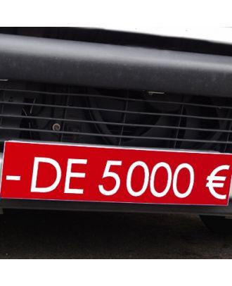 Cache plaque d'immatriculation avantage rouge - de 5000 €