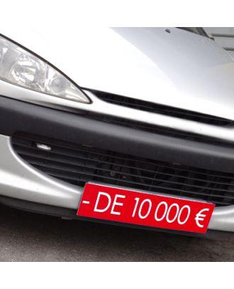 Cache plaque d'immatriculation rouge avantage - de 10000 €
