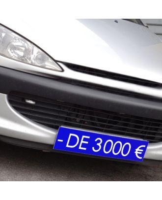 Cache plaque d'immatriculation avantage bleu - de 3000 €